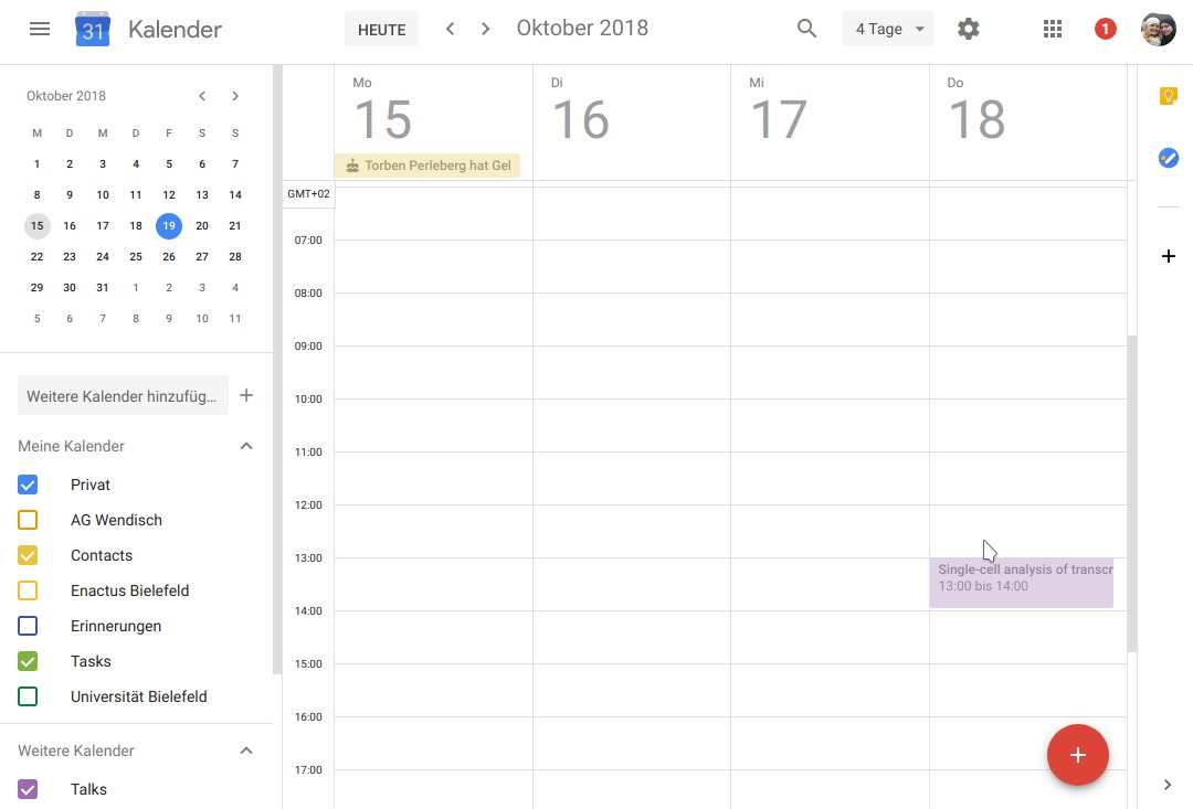 A snapshot of my Google calendar that features an automatically created event from Trello.